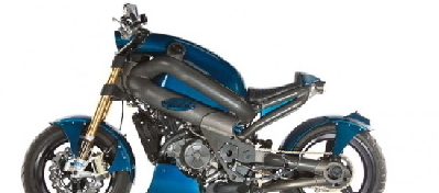MotoMorphic:近未来レトロの逆さハンドル・バイク