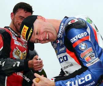 2016 British Superbike Championship, BSB R06, Thruxton, Hampshire. 24th July 2016. Michael Laverty, Toomebridge, Tyco BMW wins race 2 from Jason O'Halloran, Australia, Honda Racing and Glenn Irwin, Carrickfergus, Be Wiser Ducati