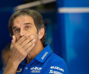 MONTMELO, SPAIN - JUNE 16:  Davide Brivio of Italy and Team Suzuki MotoGP looks on in box during the qualifying practice during the MotoGp of Catalunya - Qualifying at Circuit de Catalunya on June 16, 2018 in Montmelo, Spain.  (Photo by Mirco Lazzari gp/Getty Images)